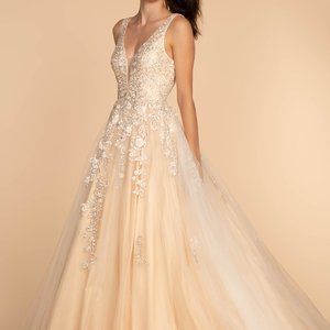 Illusion V-Neck A-Line Shape Prom Dress GSGL2529